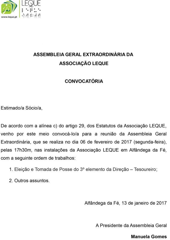 Convocatória Assembleia Geral - 06 de fevereiro 2017