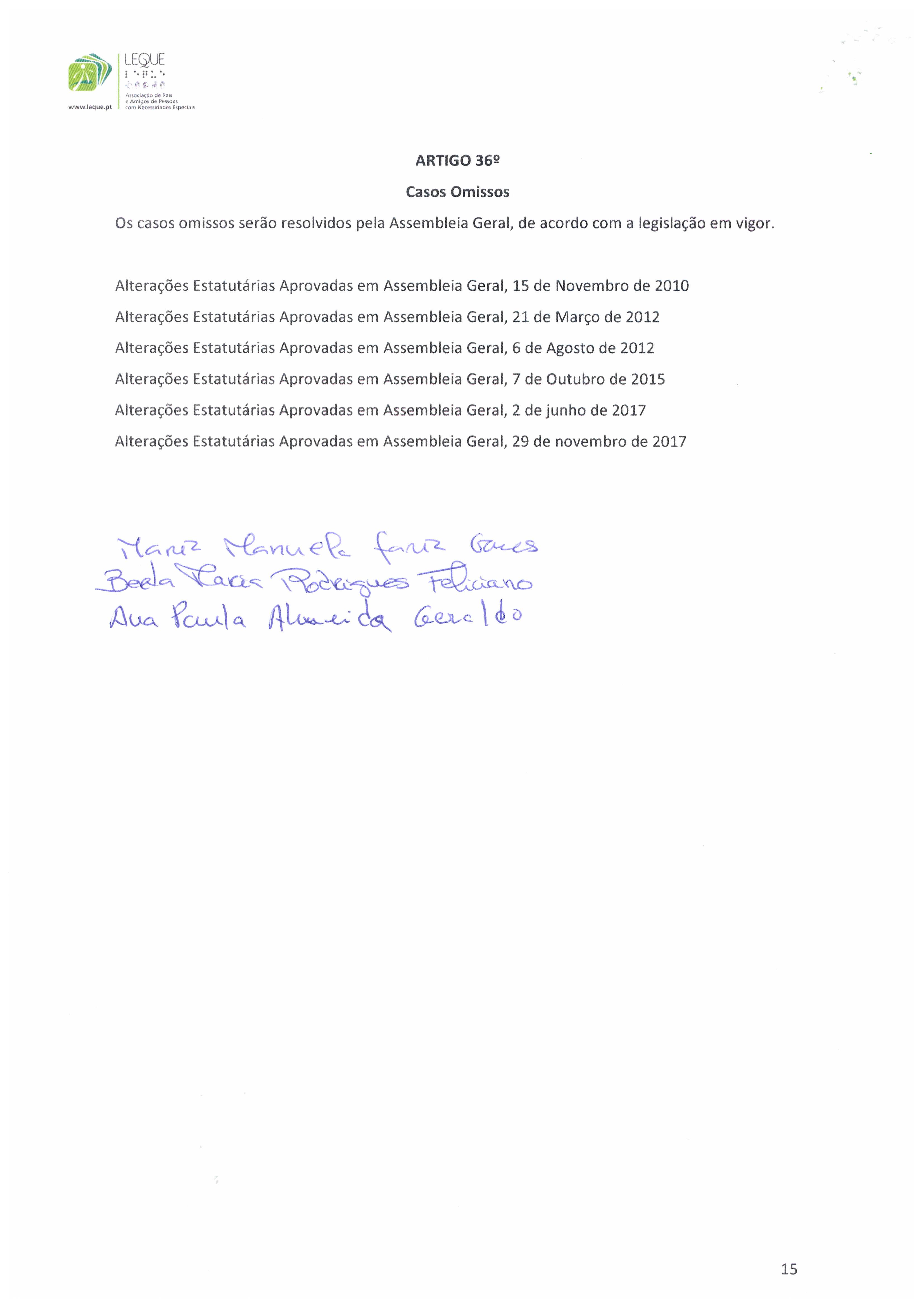 Estatutos - Associação LEQUE
